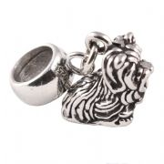 Yorkshire Terrier Sterling Silver Dangle Charm / Carrier Bead